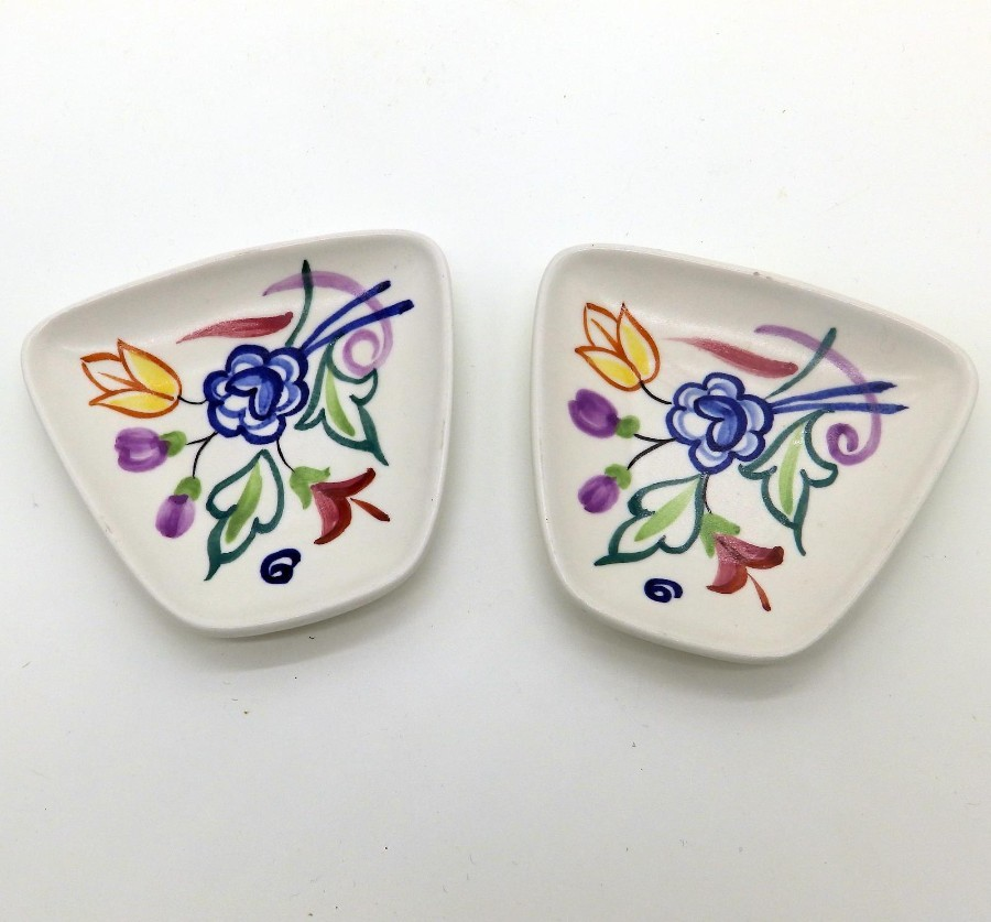 Antique Poole Pottery Ceramic Art Pottery Art Deco Retro pair small Dishes C.1960/70's