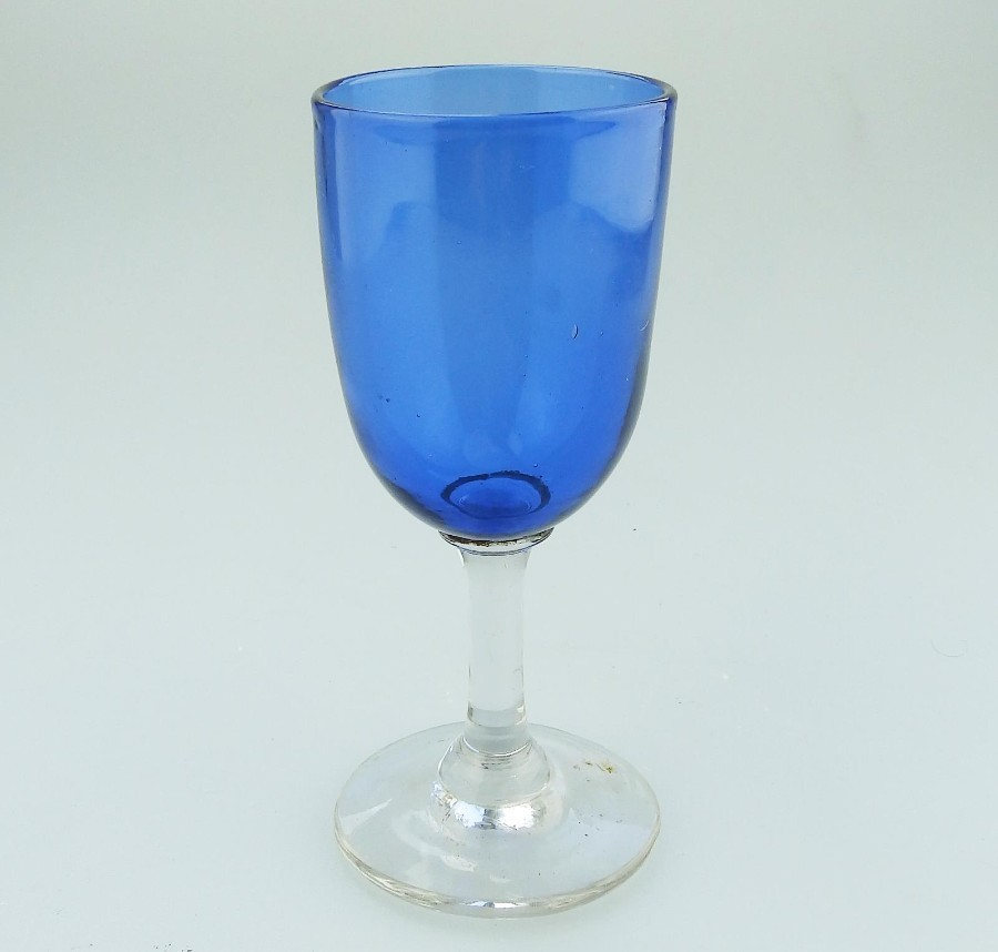 Antique English coloured Glass a Bristol blue Drinking Glass C.19thC