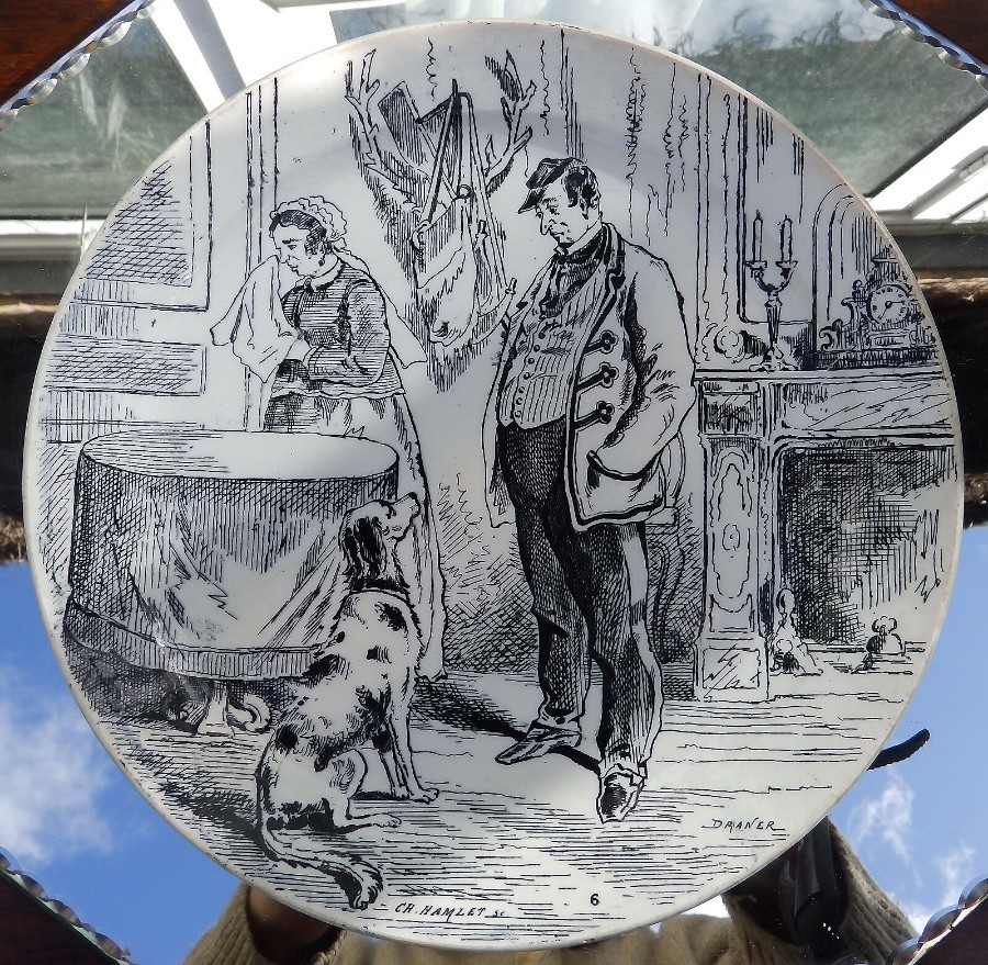 Antique French Transferware Pottery a Comical Plate by Creil et Montereau Plate 3 C.19thC