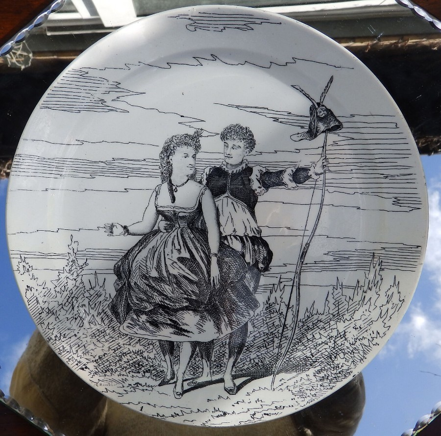 Antique French Transferware Pottery An artist Plate by Creil et Montereau Plate 4 C.19thC