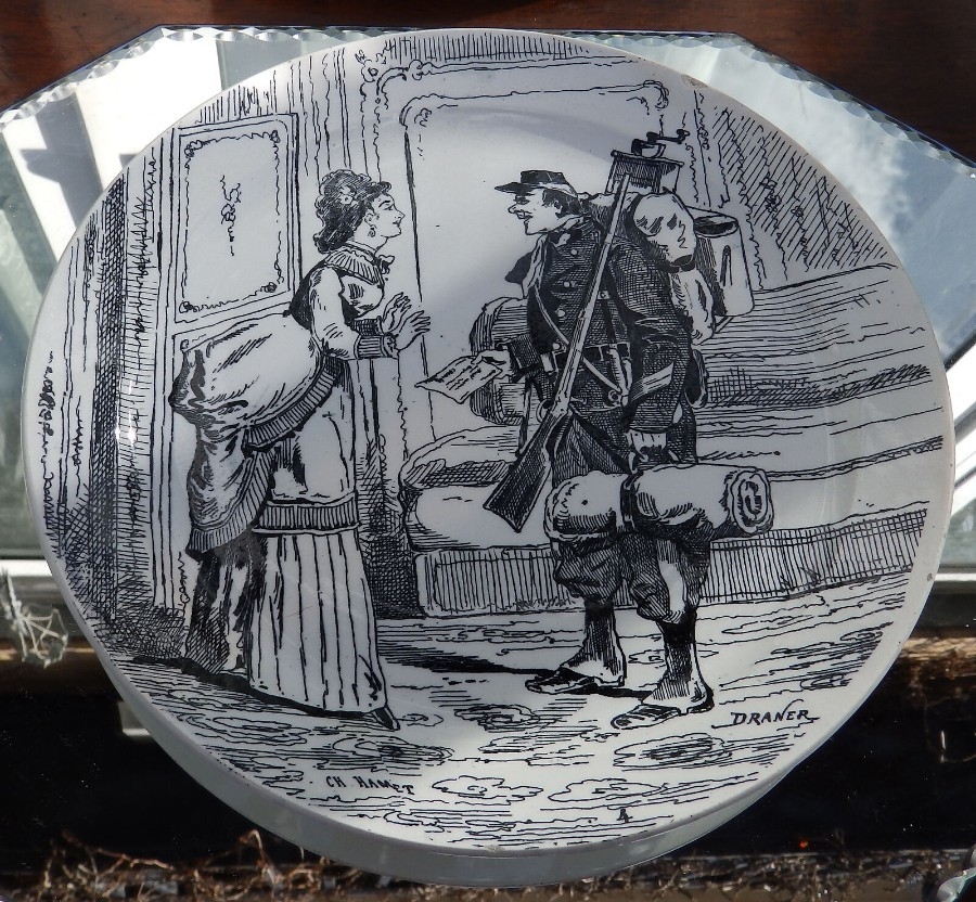 Antique French Transferware Pottery a Plate by Creil et Montereau Plate 1 C.19thC