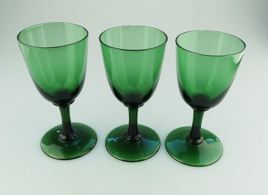 Antique English coloured Glass 3X Victorian Bristol green Wine Glasses C19thC