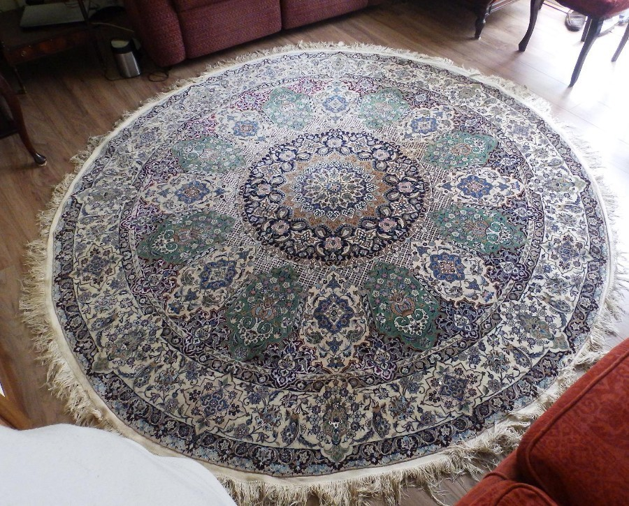A rare, very fine, large (102 inches dia) original Persian round Carpet C.1960's