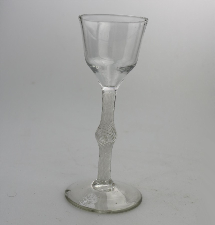 Antique Georgian Stemware opaque-twist swollen Stem Cordial Glass C.18thC