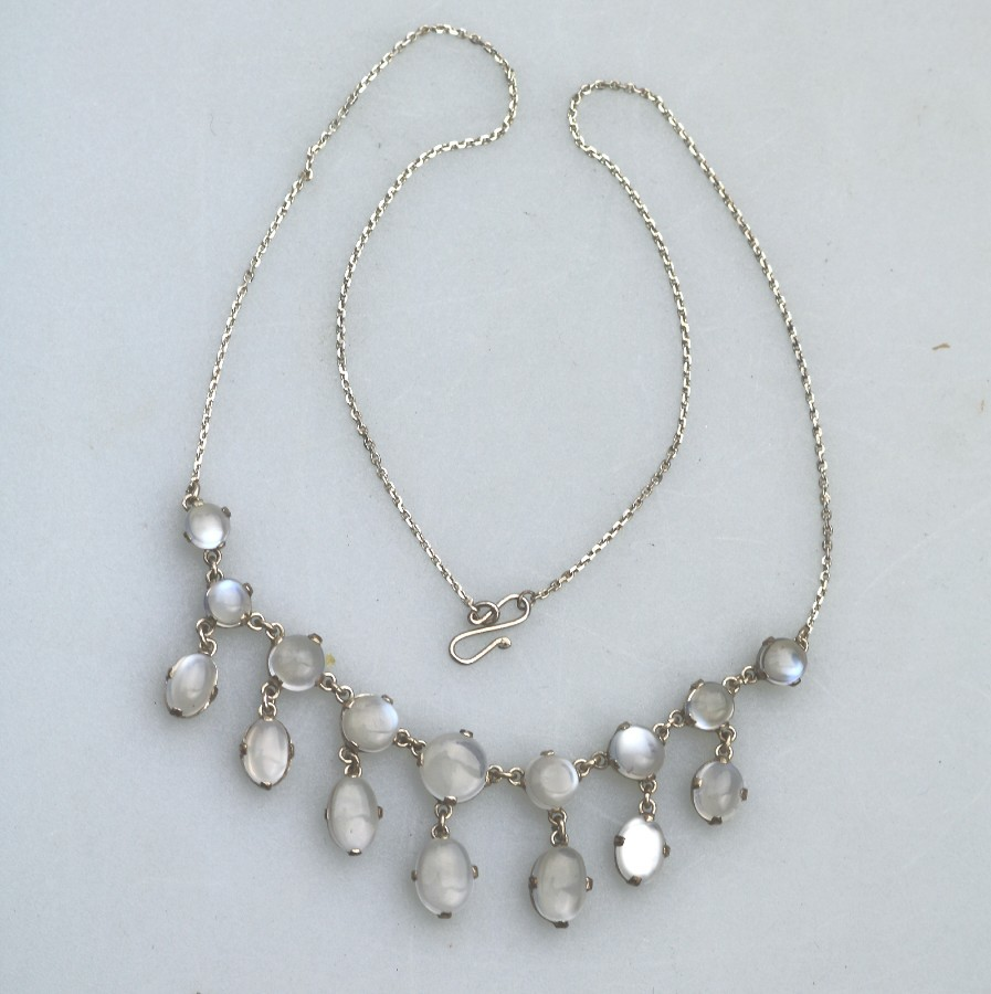 Antique Jewellery :Fine Moonstone & Solid Silver Necklace C.19thC/early 20thC
