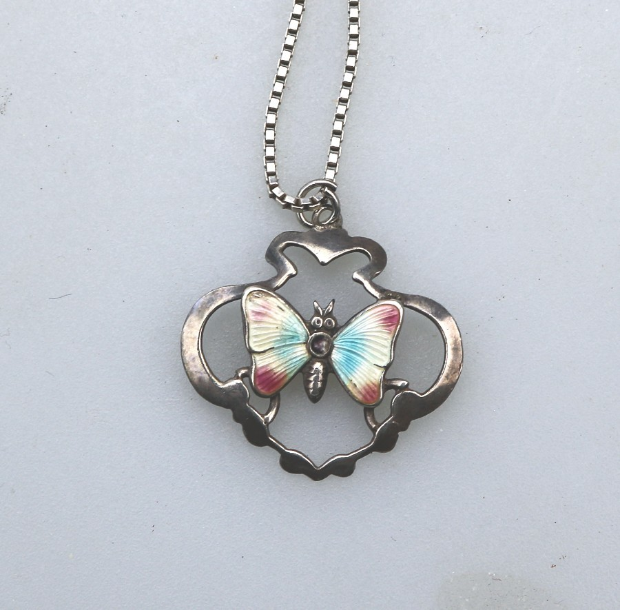 Antique Sterling Silver and Enamel Butterfly Pendant on Chain C.20thC