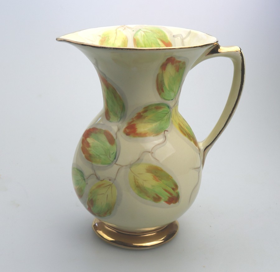 Antique Art Deco large Pottery Jug hand Painted C.1930