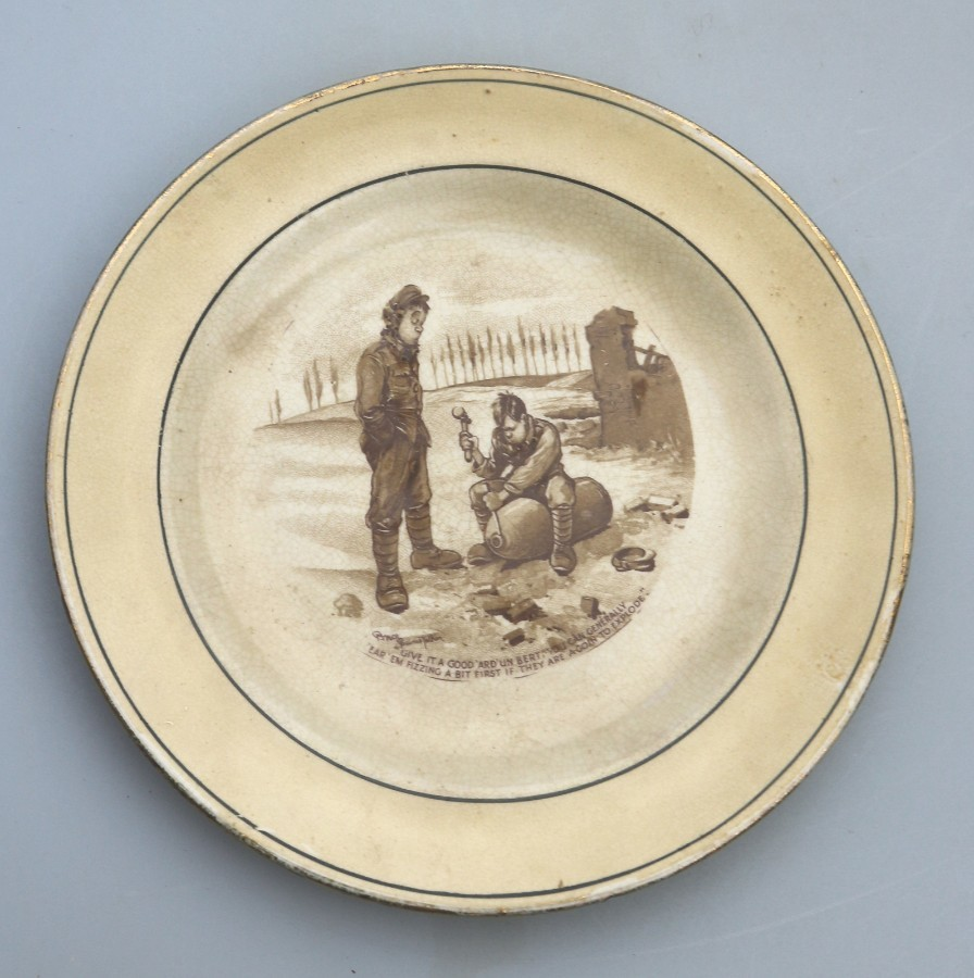 Antique Pottery Grimwades WW1 Bruce Bairnsfather Old Bill Plate C.1917