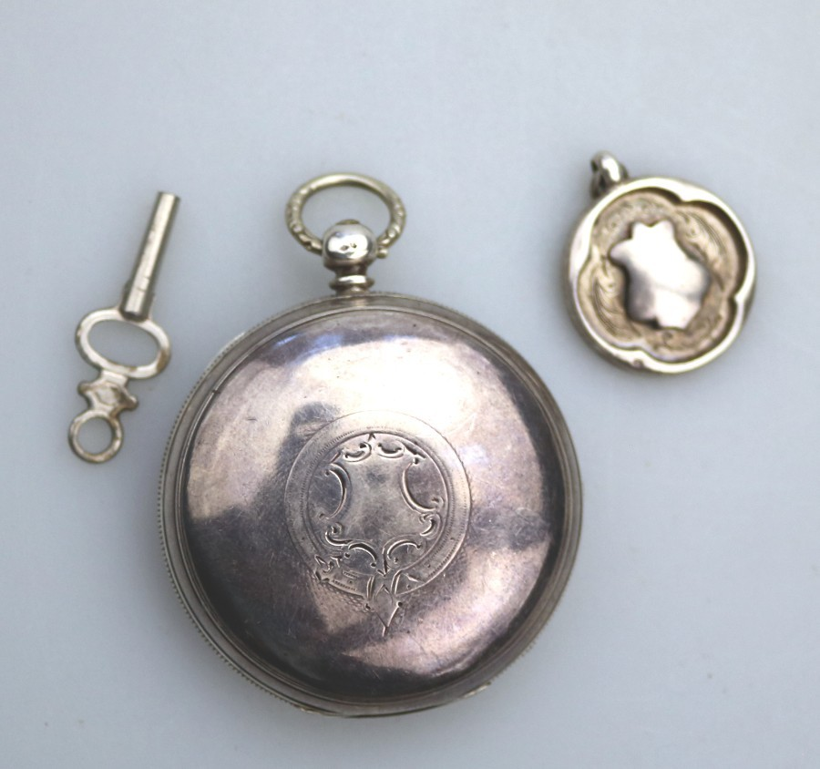 Antique Solid Silver Victorian Pocket Watch & Key and Fob Joseph Sharpe C.1882