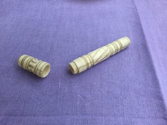 Antique Chinese ivory cigarette holder antique circa 1900 hand carved
