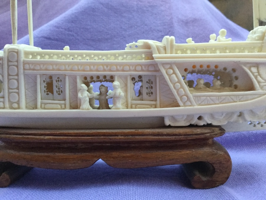 Antique Hand carved Chinese ivory boat intricate work with moving parts