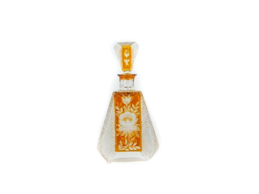 Art Deco Cut Clear & Amber Glass Decanter With Stopper