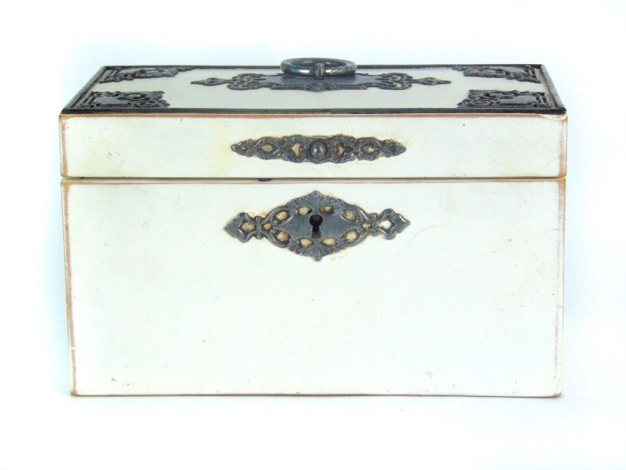 Late 18th Century Tea Caddy, White With Steel Mounts. Previously Situated In The Old Manse, Alnwi...
