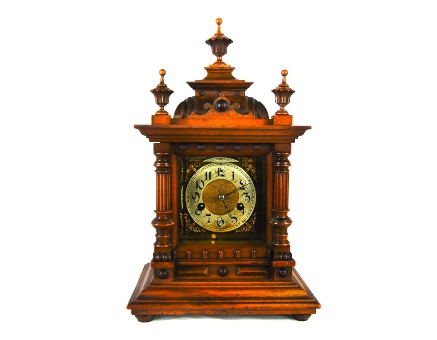 Late 19th /Early 20th Century Beech & Walnut Mantel Clock By Hamburg American Clock Company
