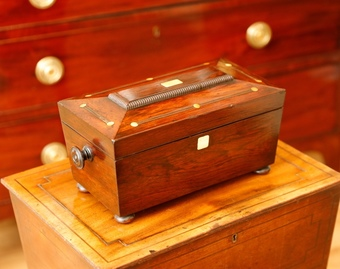 Antique Rosewood And Mother Of Pearl Tea Caddy