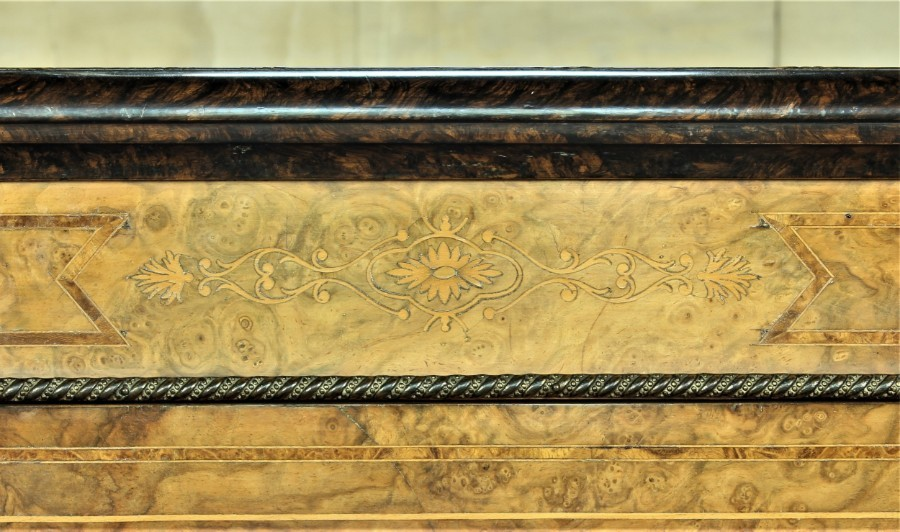 Antique Excellent Figured Walnut Victorian Credenza.