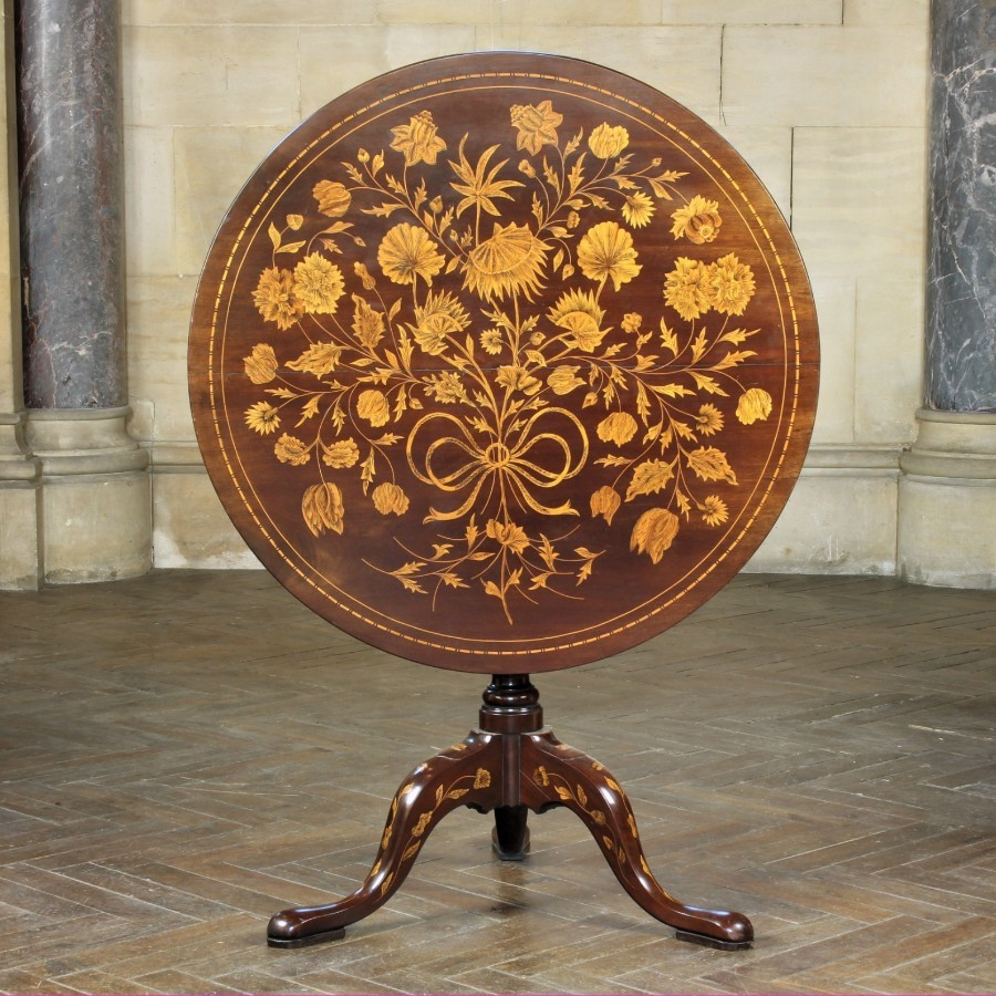 Dutch Marquetry Inlaid Mahogany Tilt Top Table