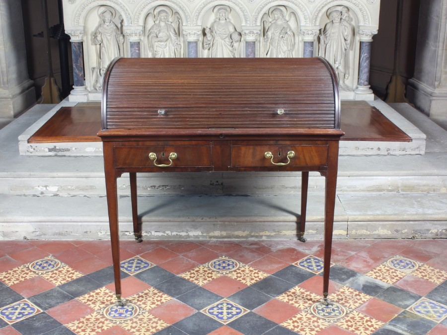 Antique William IV Mahogany Cylinder Writing Desk