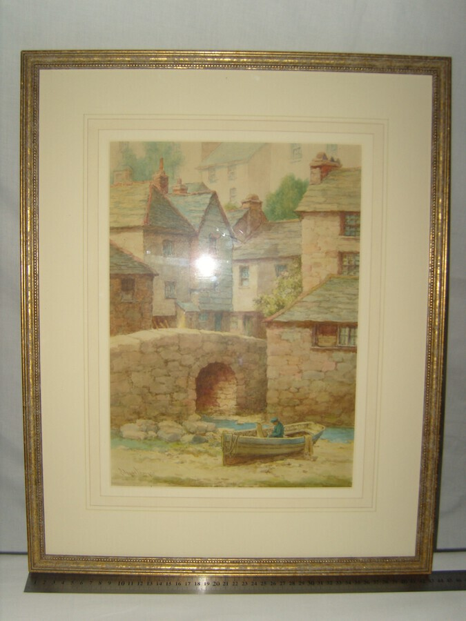 Antique A View in Polperro, Cornwall, Original Watercolour Painting by Louis Mortimer (190)