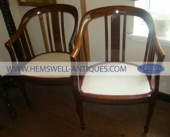 Antique Pair of Edwardian Inlaid Mahogany Bow Armchairs [Ref:28635-205-2]