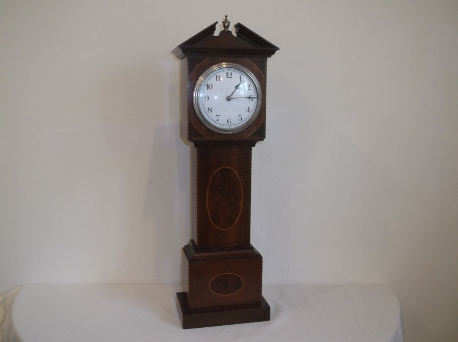 MINIATURE EDWARDIAN MAHOGANY 8 DAY LONGCASE CLOCK IN PERFECT ORDER.