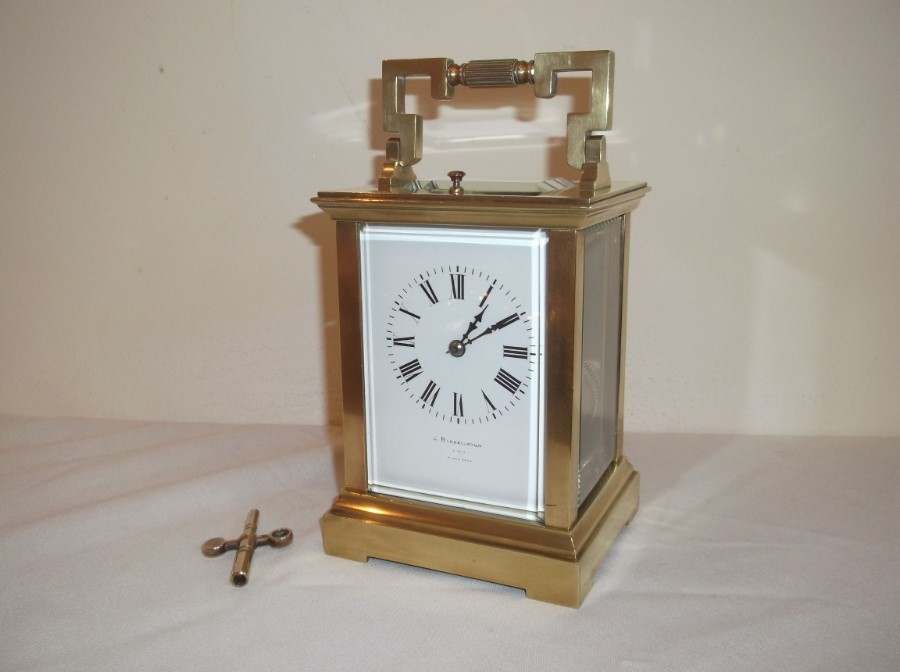 AN EXTRA LARGE ORIGINAL FRENCH REPEATER CARRAIGE CLOCK in VGC.
