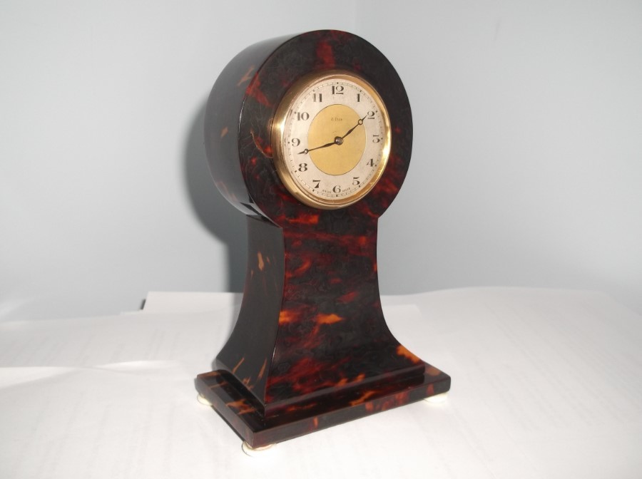 SUPERB SWISS 8 DAY MINIATURE TORTOISE SHELL FINISH CABINET CLOCK. c 1900