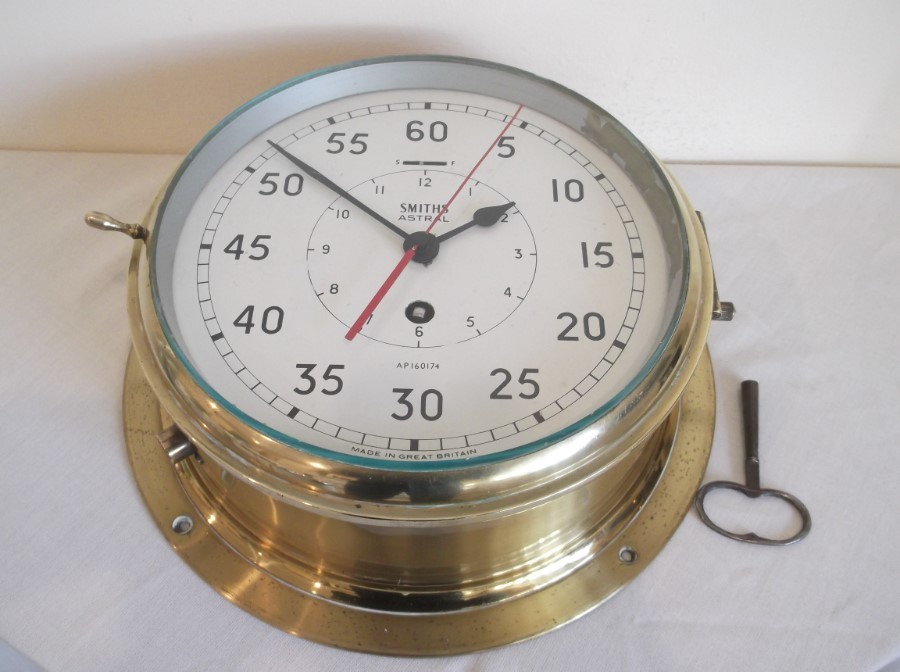 EX MERCHANT NAVY, ORIGINAL SHIPS BRIDGE CLOCK, 8 DAY STOP CONTOL MODEL,