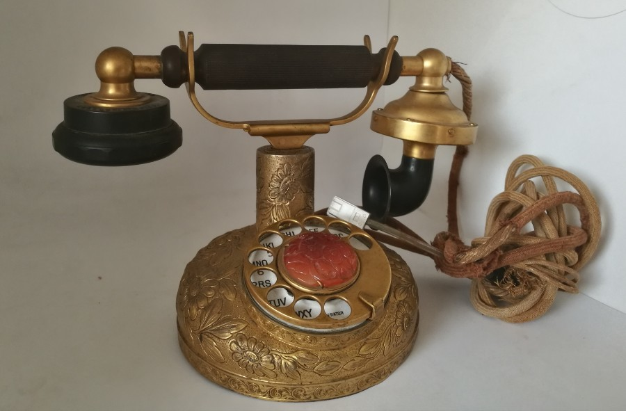 1927 ANTIQUE WORKING BENSABOTT KELLOGG DESK PHONE, Model F135S, Silver STERLING case + GILT