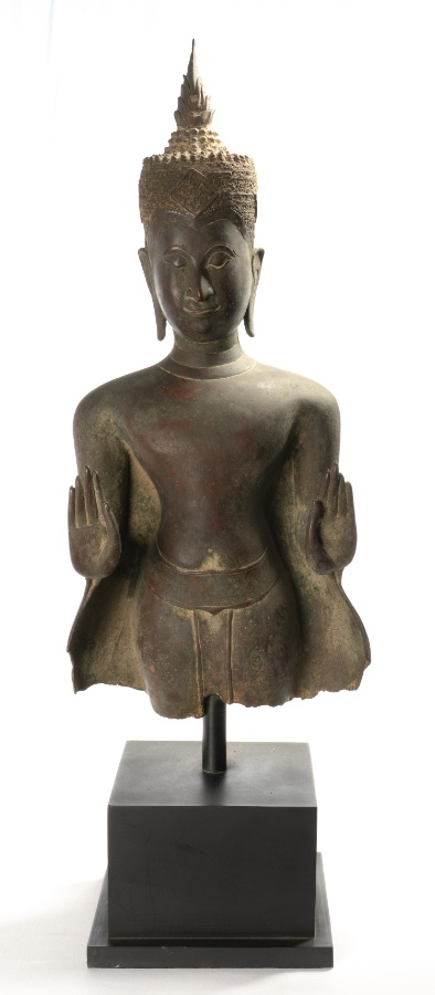 Antique Buddha Statue - Antique Thai Style Bronze Ayutthaya Abhaya Protection Buddha Statue - 68c...