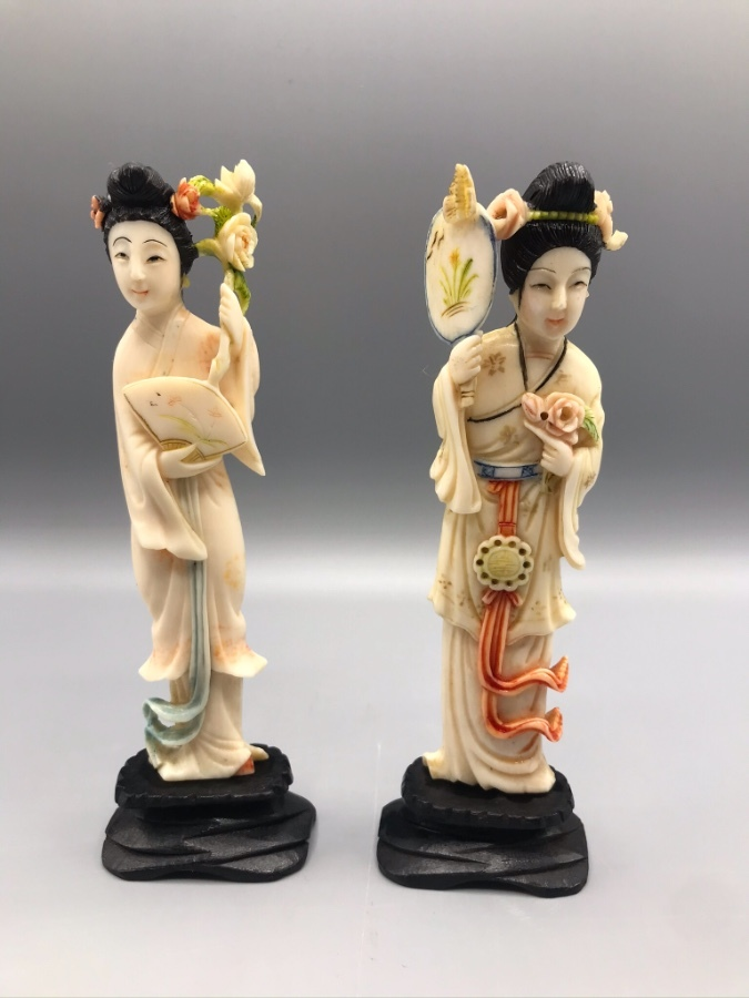 Pair of Chinese Ivory Elephant Carved Ladies, CITES, Republican Period