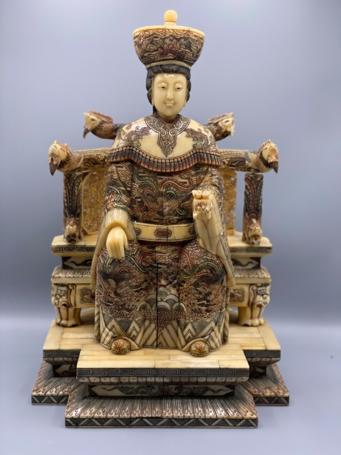 Antique Chinese Bone Hand Carved and Painted Emperor Sculpture