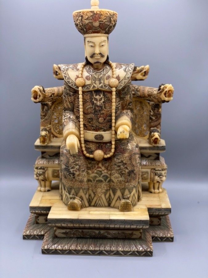 Antique Rare Chinese Bone Hand Carved and Painted Emperor Sculpture
