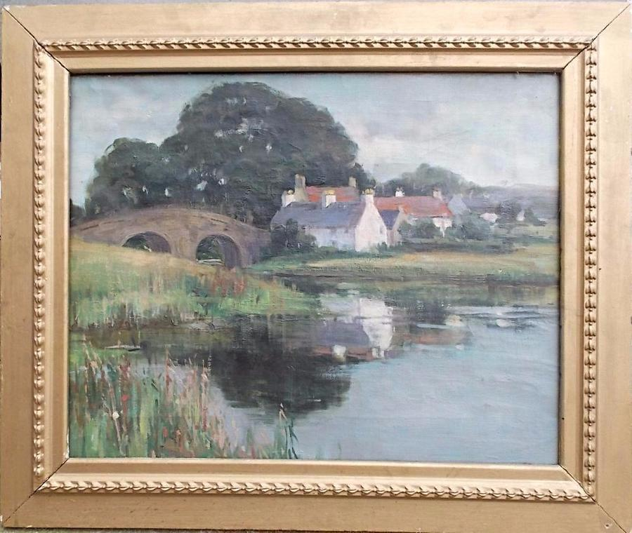 SOLD Isabel Hutchison Oil on canvas. dated 1897 Callander Bridge