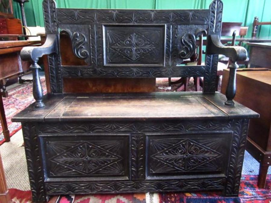 Victorian oak monks bench