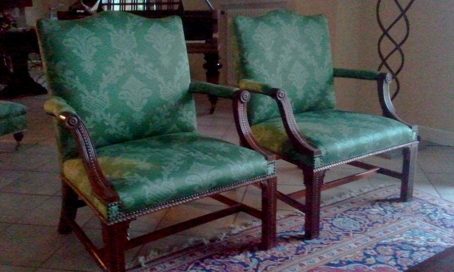 Timeless Style. A fine pair of Geo 111 style Gainsborough chairs.