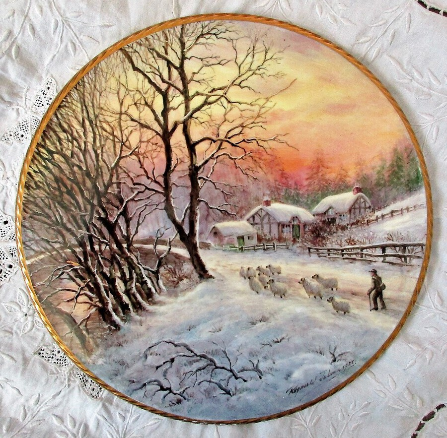 "Antique English Porcelain Cake / Cheese Stand ~ ""Winter Sunset with Sheep ~ III of III"" ~ Reginald Johnson"