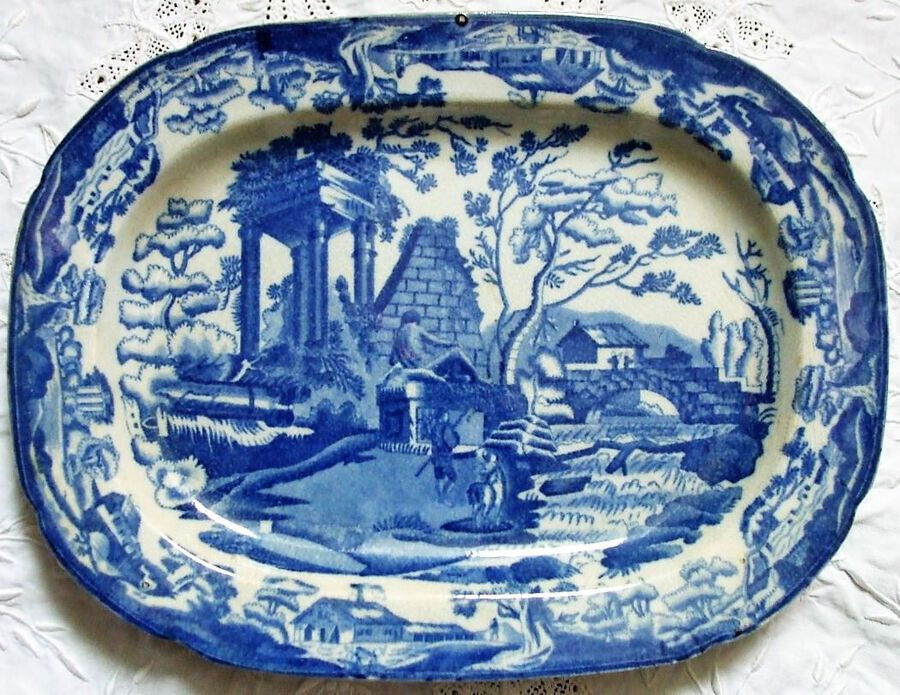 "Antique Antique English Georgian Blue and White Transfer ""Classical Ruins"" Pattern Pottery Dish ~ Thomas Lakin of Stoke"