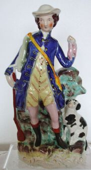 Antique Antique English Victorian Staffordshire Pottery Figure of a Hunter
