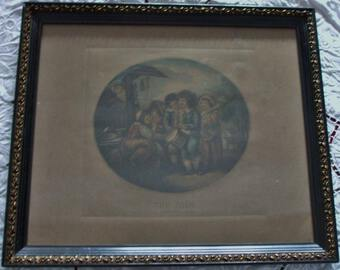 "Antique Antique English Georgian Framed Stipple Engraving ~  ""The Fair"""