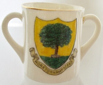 Antique W.H. Goss ~ Two Handled Mug ~ Devon and Moretonhampstead