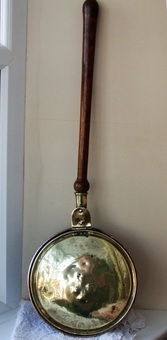 Antique Antique English Georgian Brass and Copper Warming Pan
