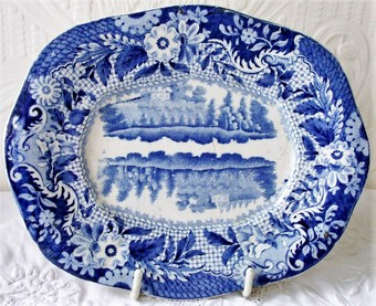 "Antique Antique English Georgian Blue and White Transfer  ""Castle of Rochefort ~ South of France"" Pattern Pottery Sauce Tureen Stand ~ Brameld & Co."