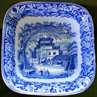 "Antique Antique English Georgian Blue and White Transfer ""Eastern Street Scene"" Pattern Pottery Fruit Bowl ~ John and Richard Riley"