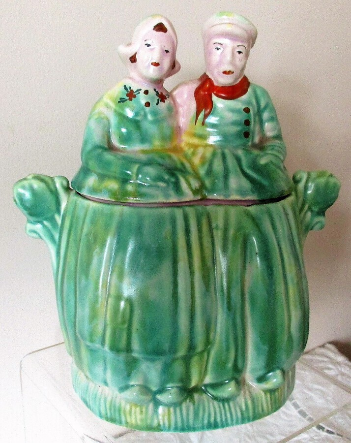 "Antique Vintage English ""Dutch Couple"" Pottery Biscuit Barrel ~ Arthur Wood & Son"