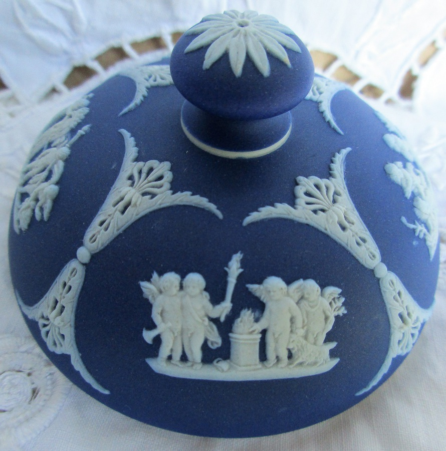 Antique Antique English Victorian Wedgwood Jasper Ware Tobacco Jar and Cover