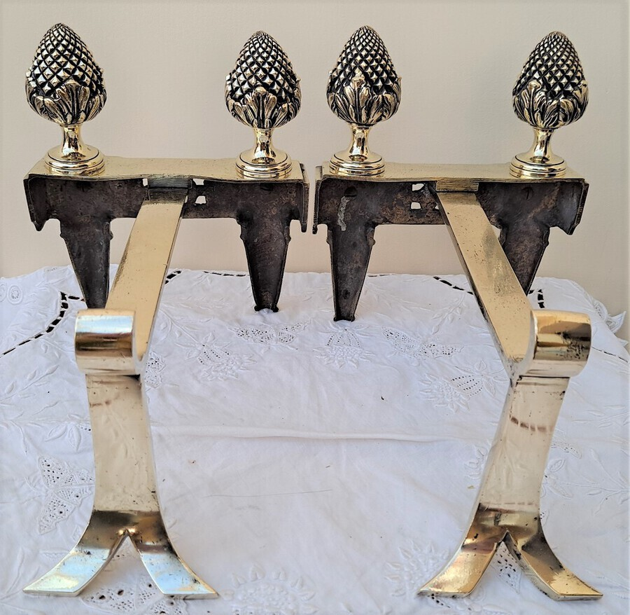 Antique Pair of Antique English Victorian Brass Andirons