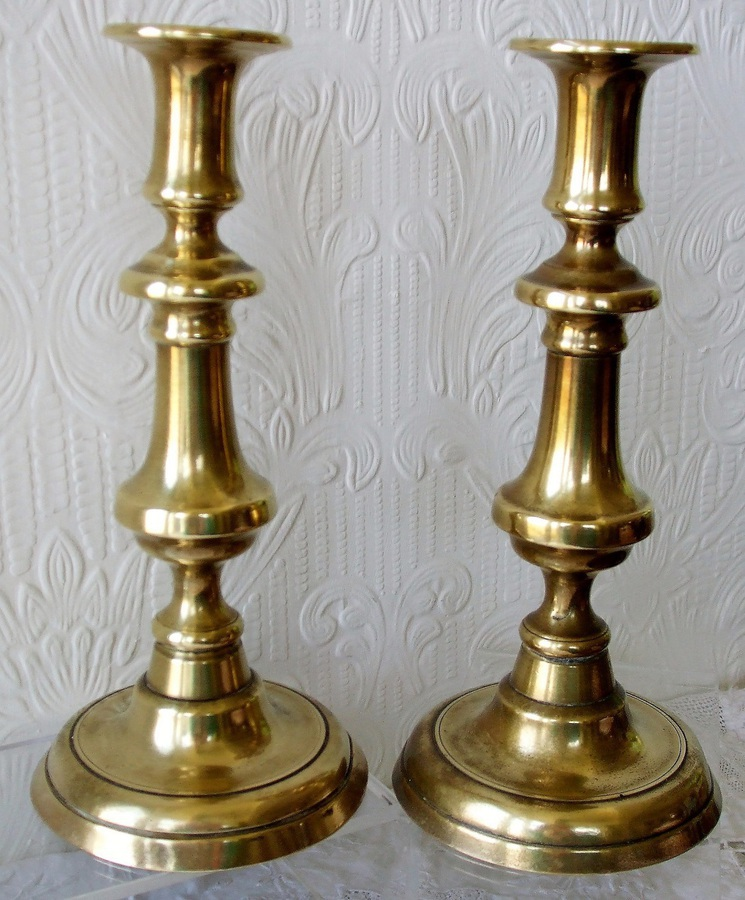 Antique Pair of Antique English Victorian Brass Candlesticks