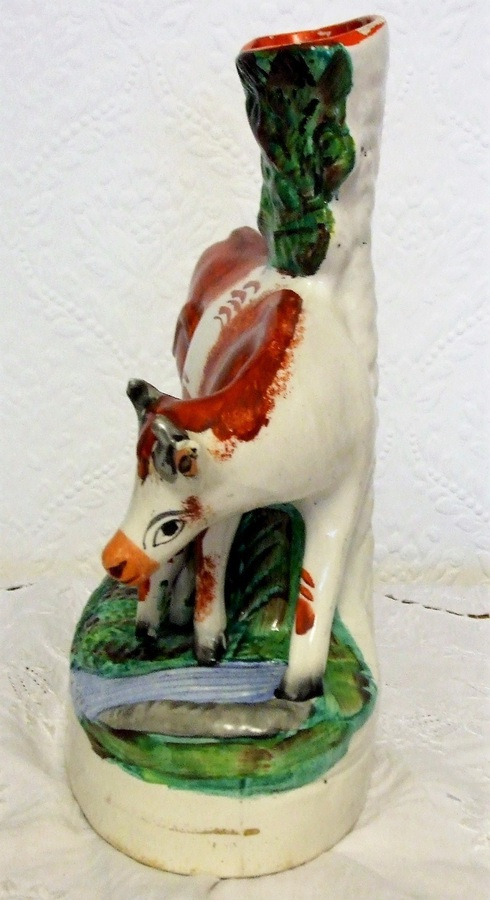 Antique Pair of Antique English Victorian Staffordshire Cow and Calf Pottery Spill Vases ~ H 2893 / H 2894