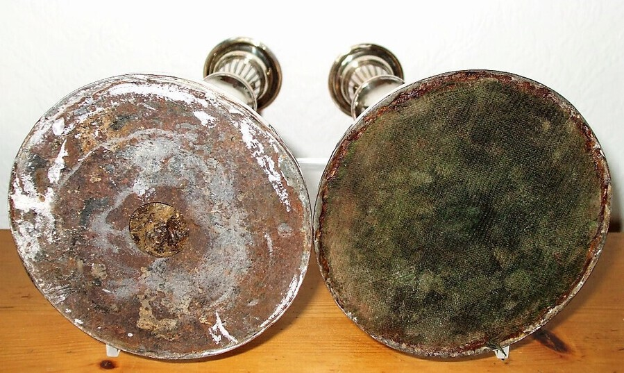 Antique Pair of Antique English Georgian Old Sheffield Plate Candlesticks